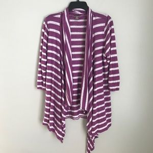 J Jill Purple White Striped Linen Drape Cardigan